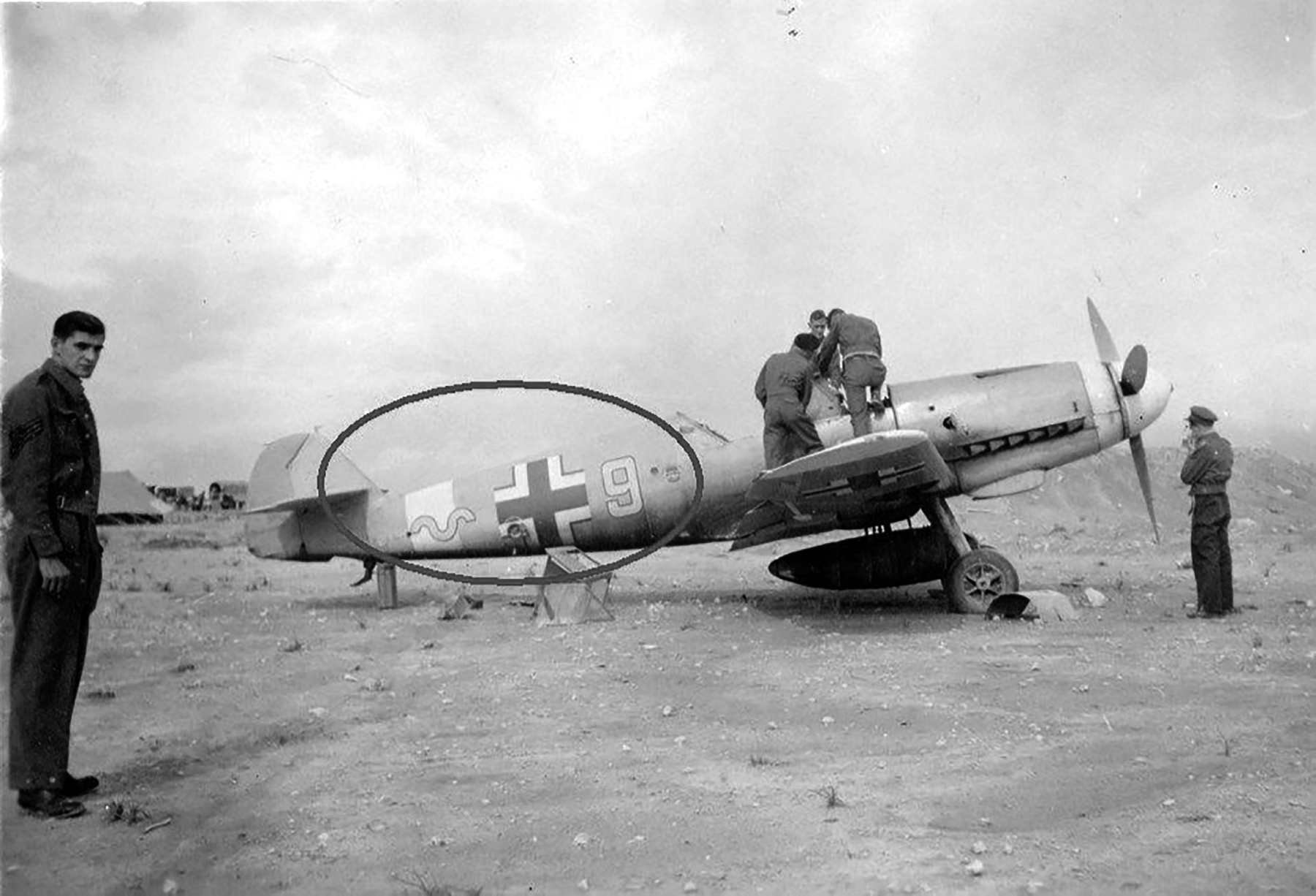 Messerschmitt Bf 109F4Trop 9.JG27 Yellow 9 WNr 8550 abandoned at Bir el Abd 13th Nov 1942 ebay2