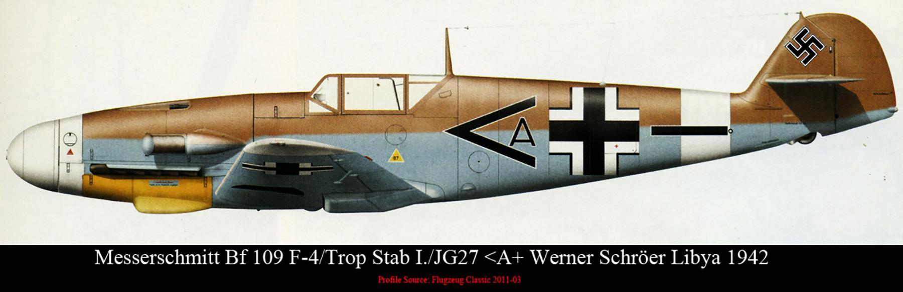 Messerschmitt Bf 109F4Trop Stab I.JG27 Werner Schroer Libya 1942 0B