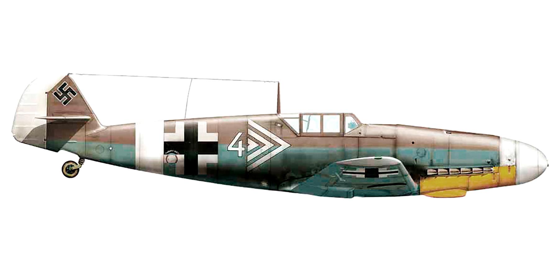 Messerschmitt Bf 109F4Trop Stab II.JG27 Gustav Rodel Libya 1941 0A
