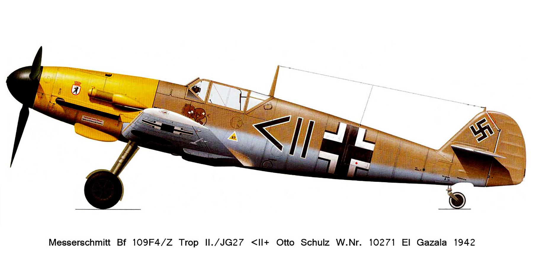 Messerschmitt Bf 109F4Trop Stab II.JG27 Otto Schulz WNr 10271 El Gazala 1941 0A