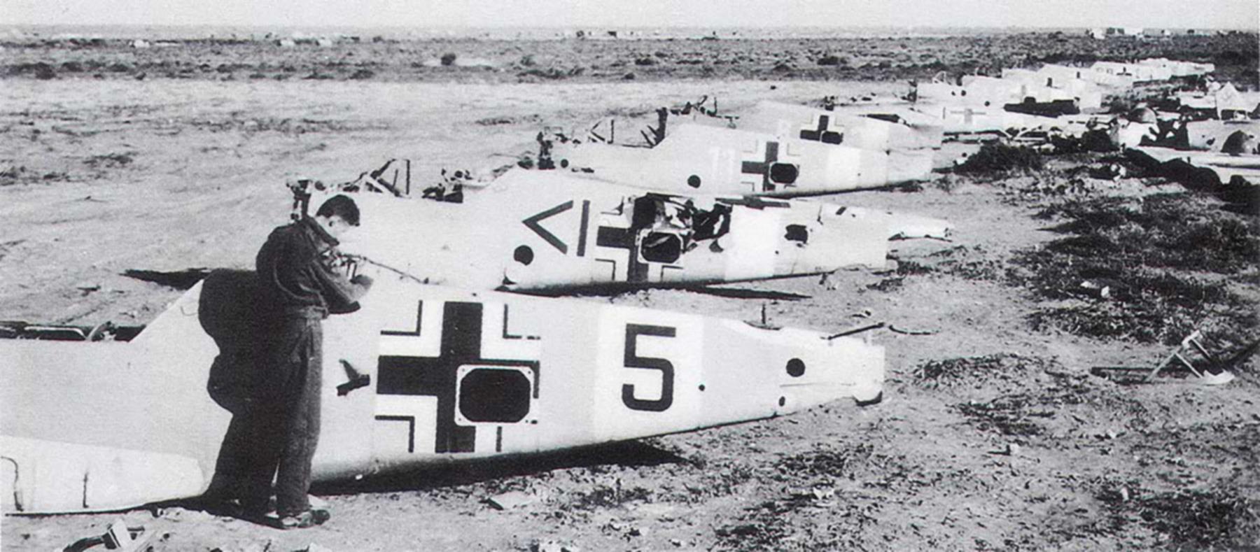 Messerschmitt Bf 109F4Trop abandoned airframes mostly from JG27 Gambut Libya 1942 01