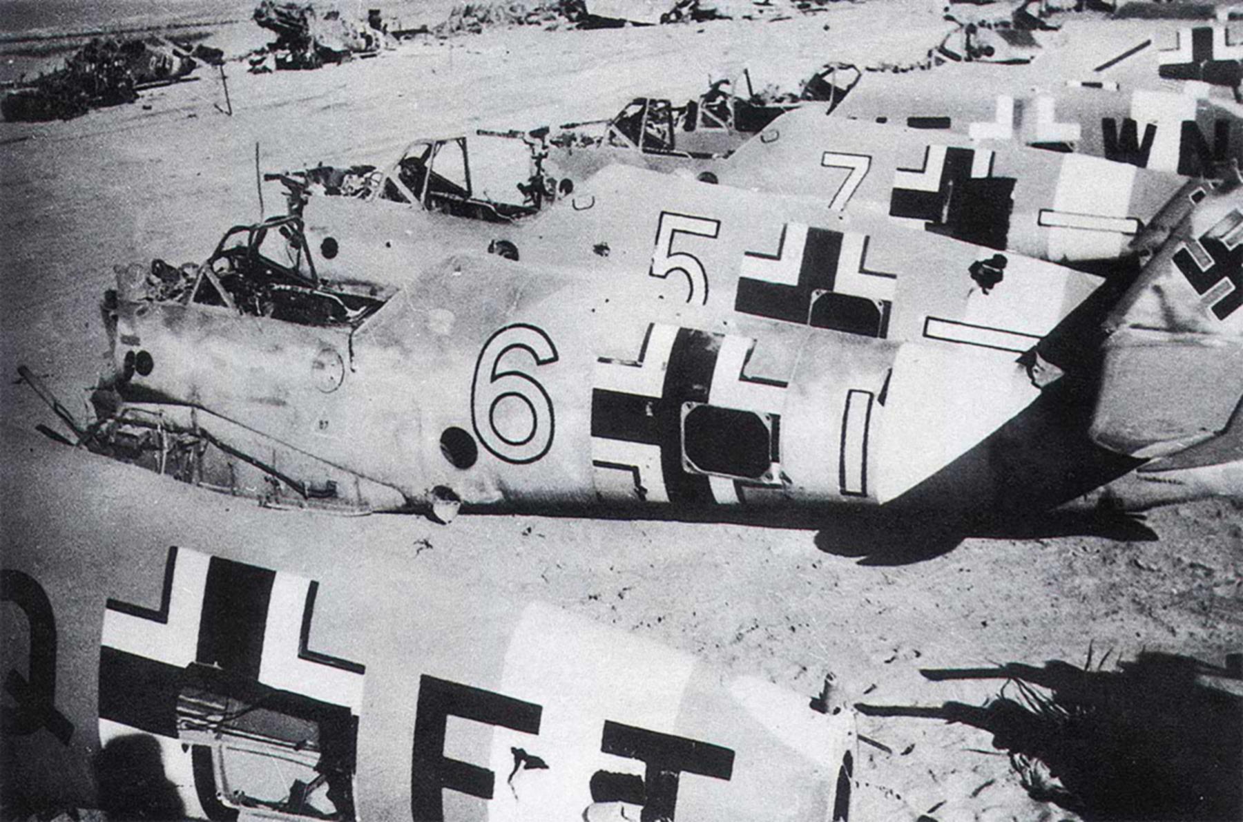 Messerschmitt Bf 109F4Trop abandoned airframes mostly from JG27 Gambut Libya 1942 02