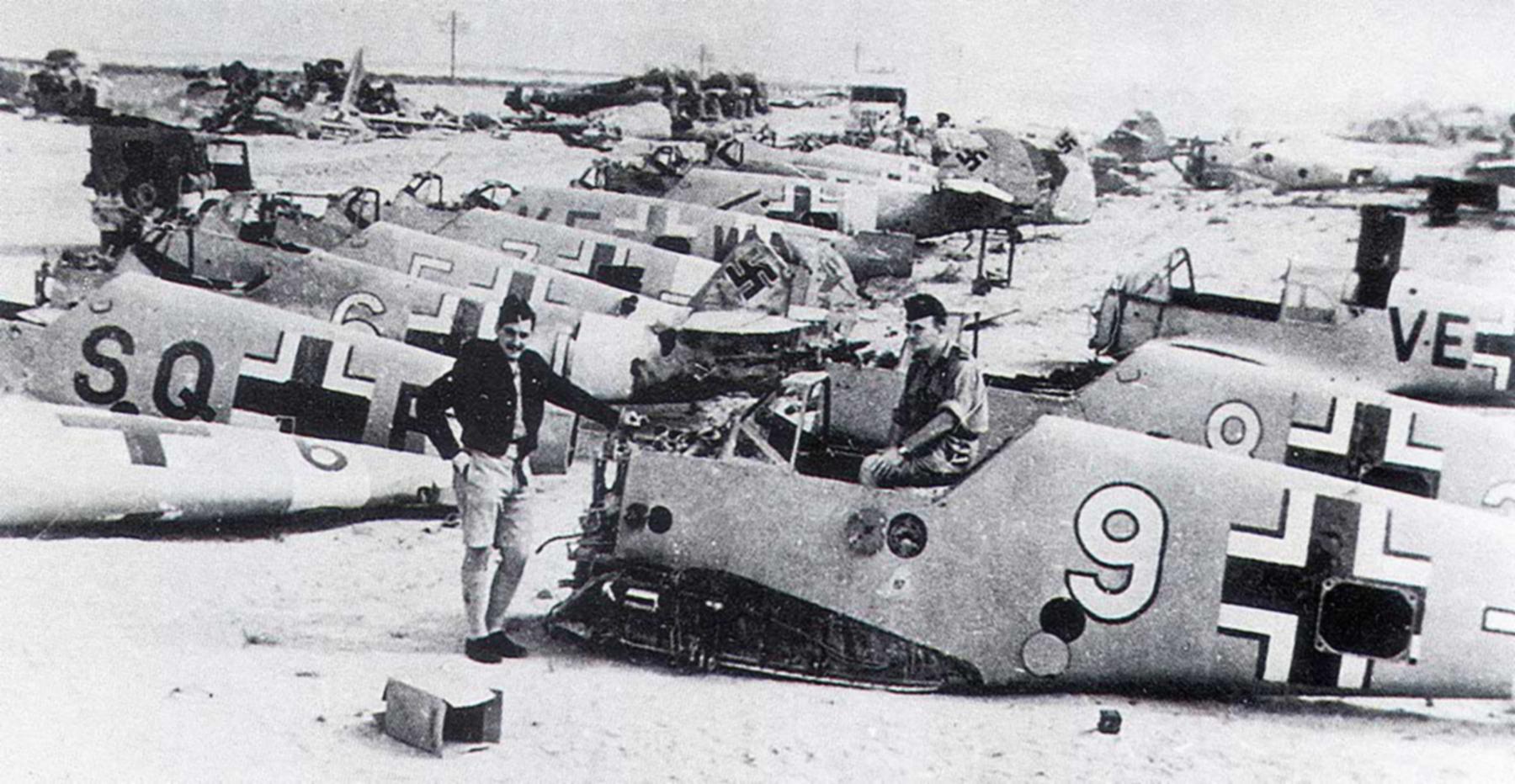 Messerschmitt Bf 109F4Trop abandoned airframes mostly from JG27 Gambut Libya 1942 03