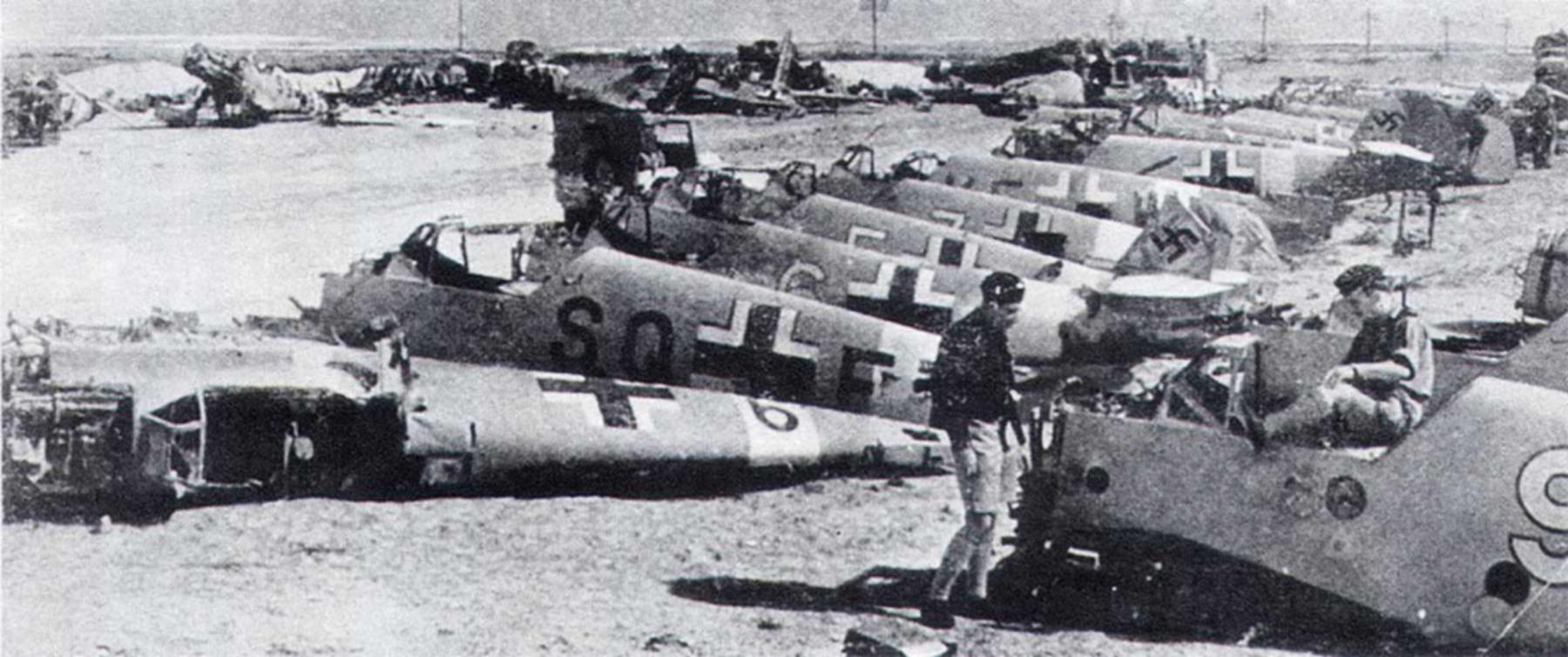 Messerschmitt Bf 109F4Trop abandoned airframes mostly from JG27 Gambut Libya 1942 04