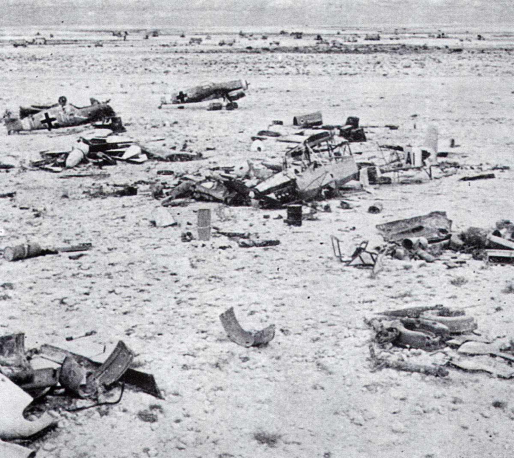Messerschmitt Bf 109F4Trop abandoned airframes mostly from JG27 Gambut Libya 1942 05