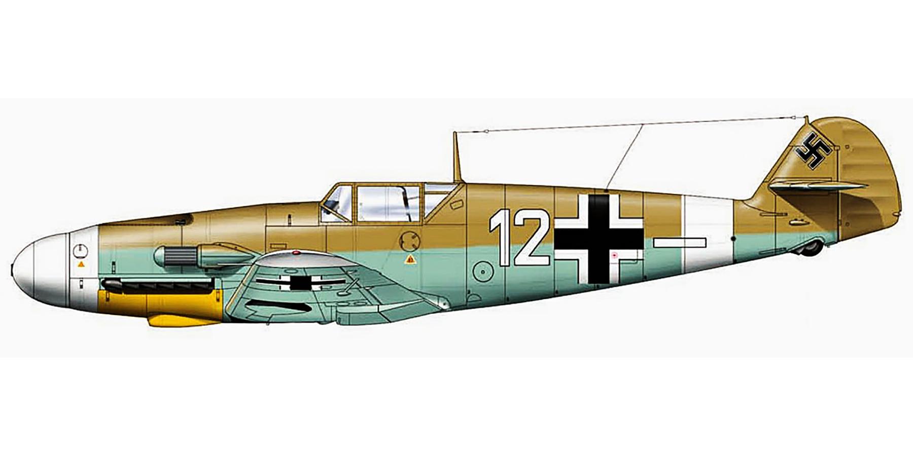 Messerschmitt Bf 109F4ZTrop 4.JG27 White 12 Franz Stigler Qutaifiya Egypt Aug 1942 0A