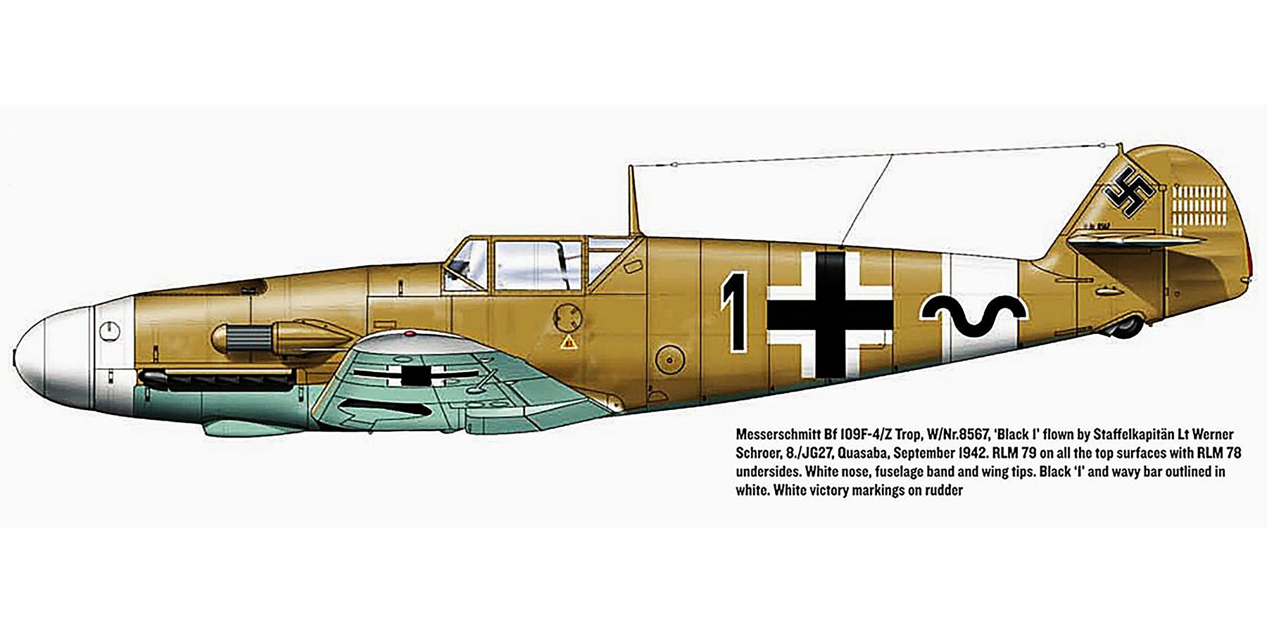 Messerschmitt Bf 109F4ZTrop 8.JG27 Black 1 Werner Schroer WNr 8567 Quasaba Sep 1942 0A