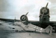 Asisbiz Messerschmitt Bf 109F4Trop Stab II.JG27 WNr 8578 in ground accident with Ju 52.3m Revi 57 2009