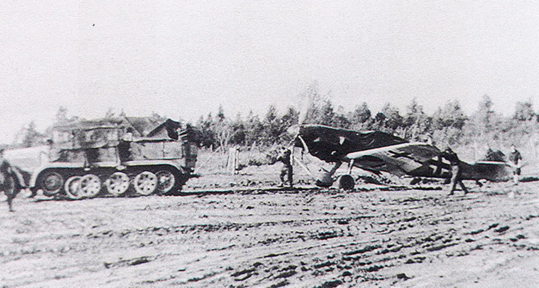 Messerschmitt Bf 109F JG54 being towed by a SdKfz 7 half track Russia 1941 01