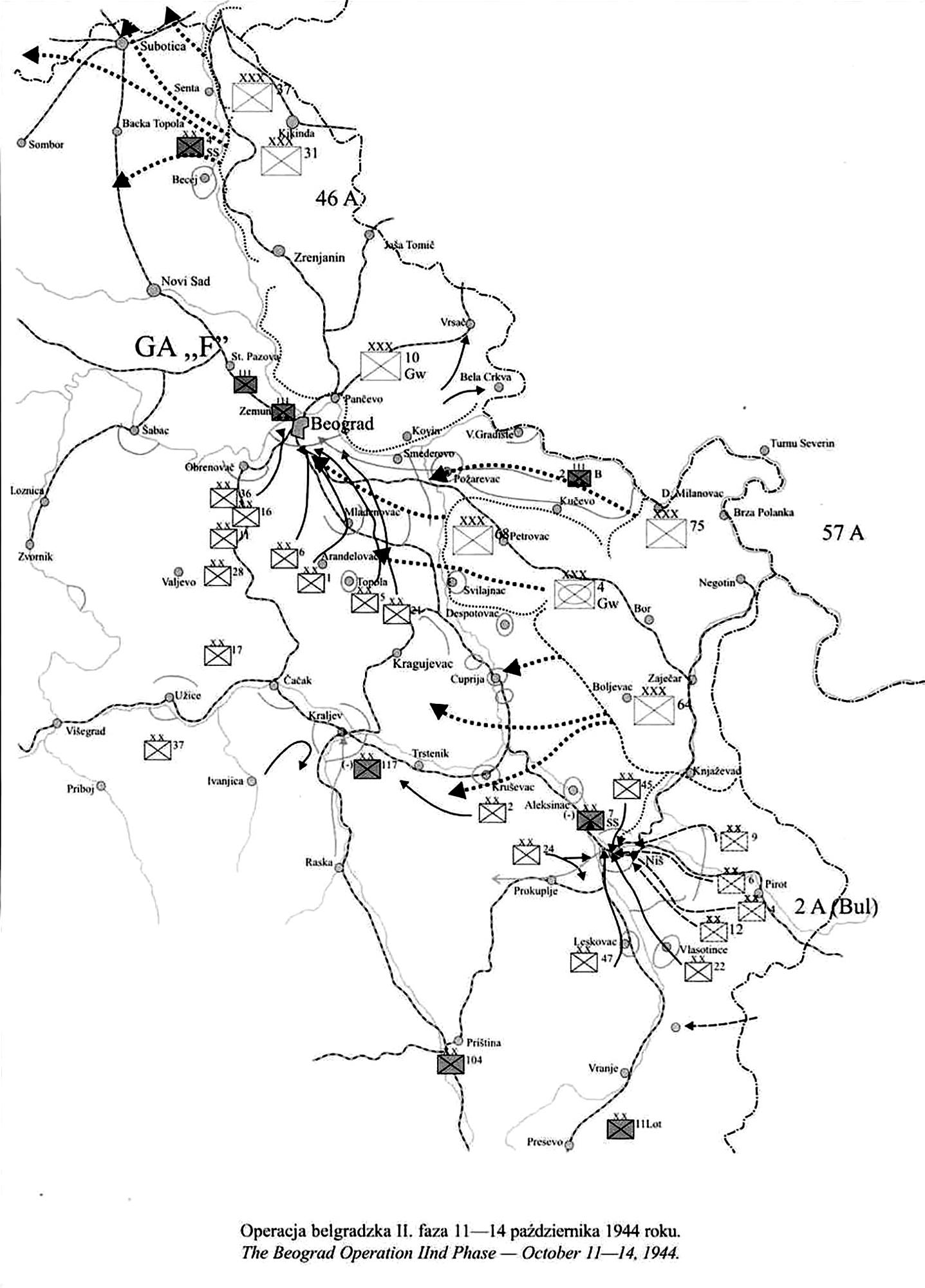 Artwork showing a map of Bulgaria Beograd Operation 2nd Phase Oct 11 1944 0A