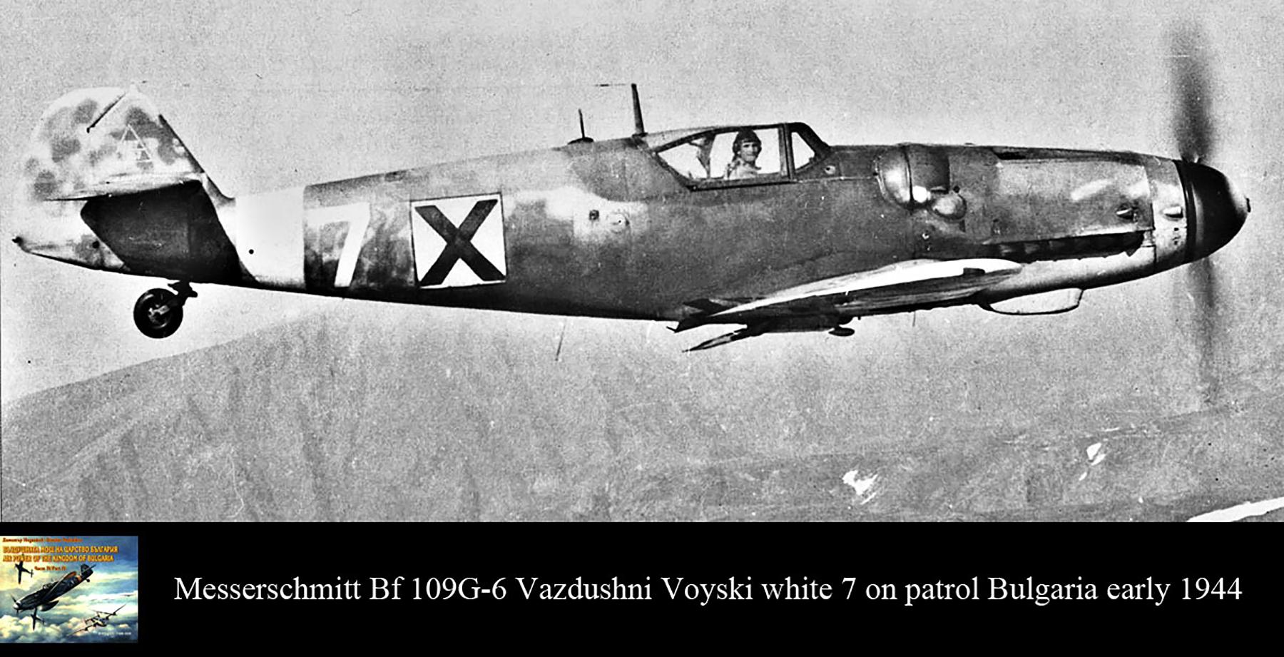 Messerschmitt Bf 109G6 Erla RBuAF 3.6 Orljak White 7 Stoyan Stoyanov Kdr over Bulgaria early 1944 01