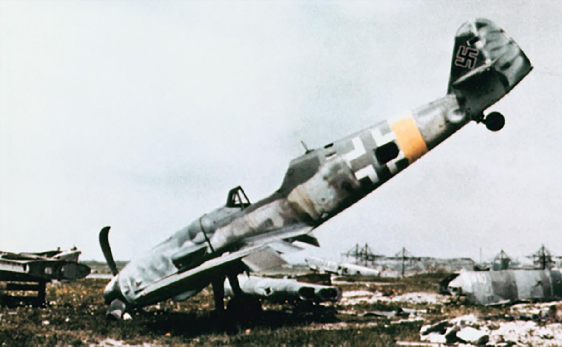 Messerschmitt Bf 109G14 Erla RVT WNr 165545 unknown unit lies abandoned Augsburg Bavaria Germany May 1945 01