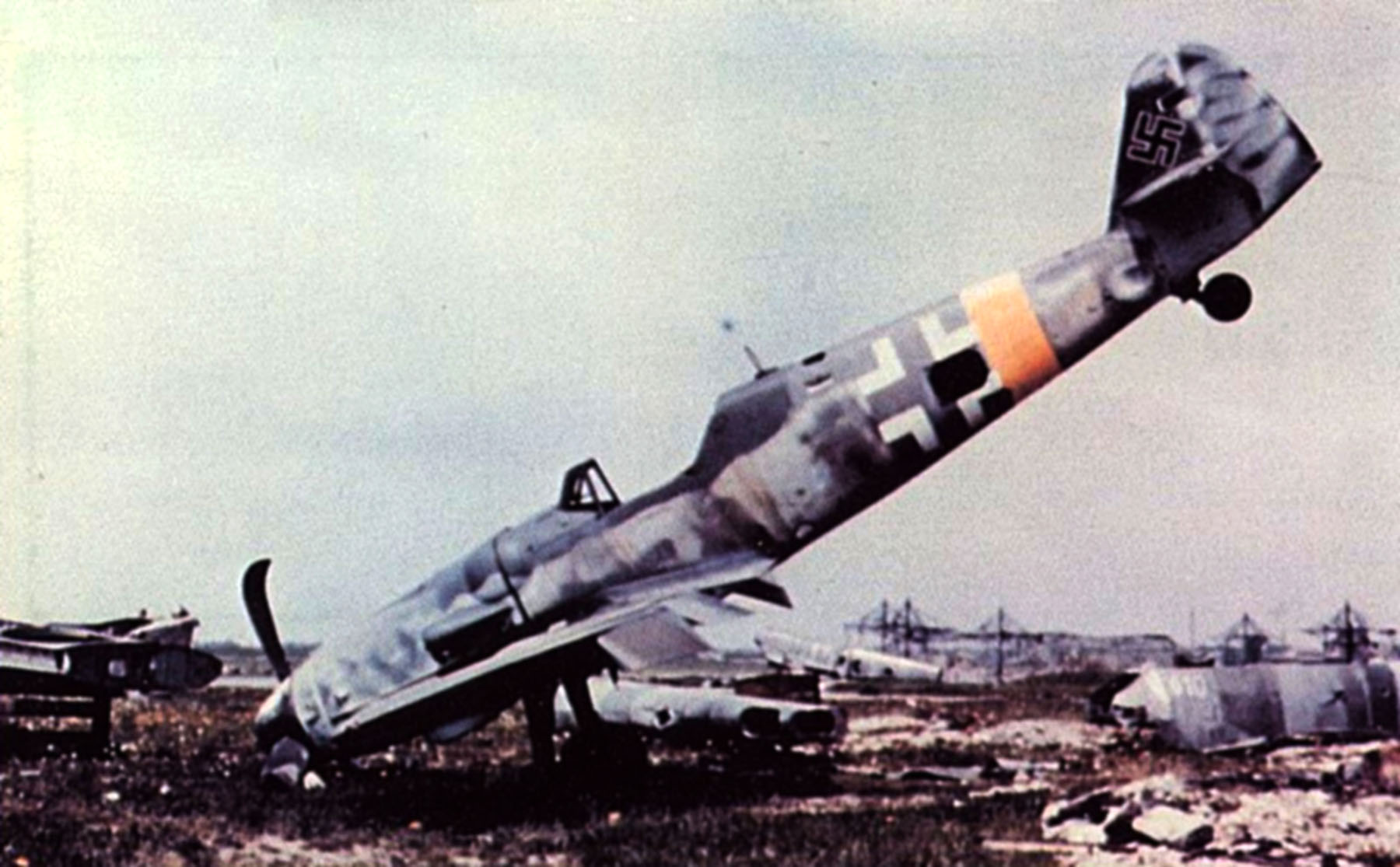 Messerschmitt Bf 109G14 Erla RVT WNr 165545 unknown unit lies abandoned Augsburg Bavaria Germany May 1945 02