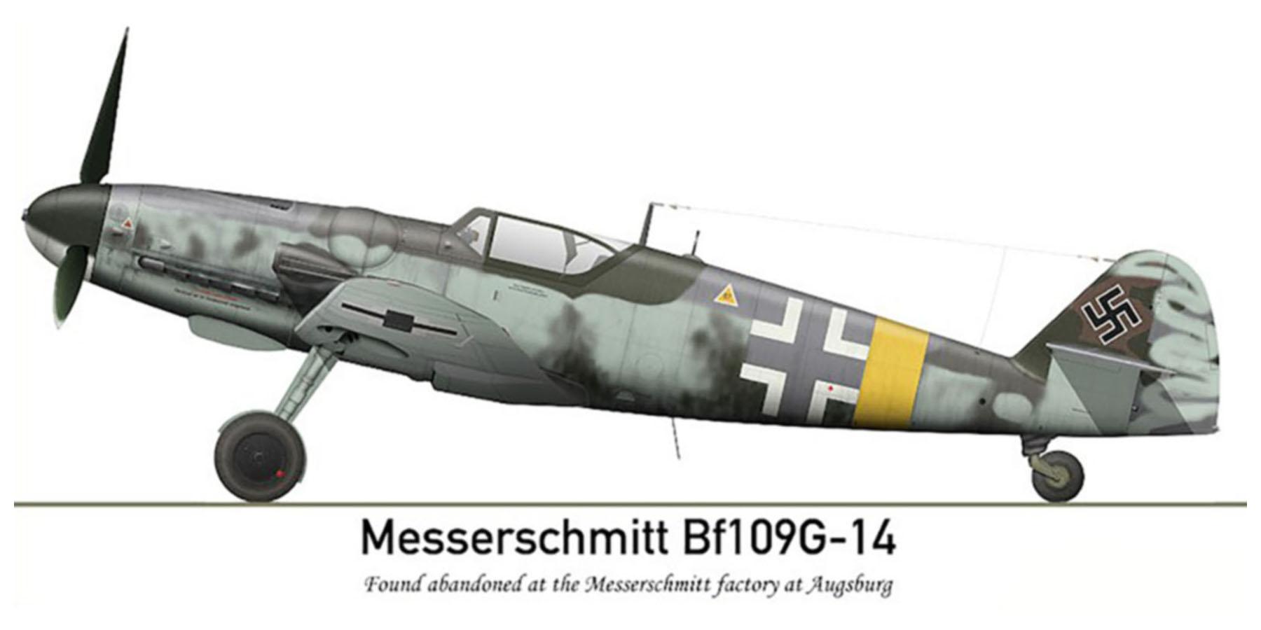 Messerschmitt Bf 109G14 Erla RVT WNr 165545 unknown unit lies abandoned Augsburg Bavaria Germany May 1945 0A