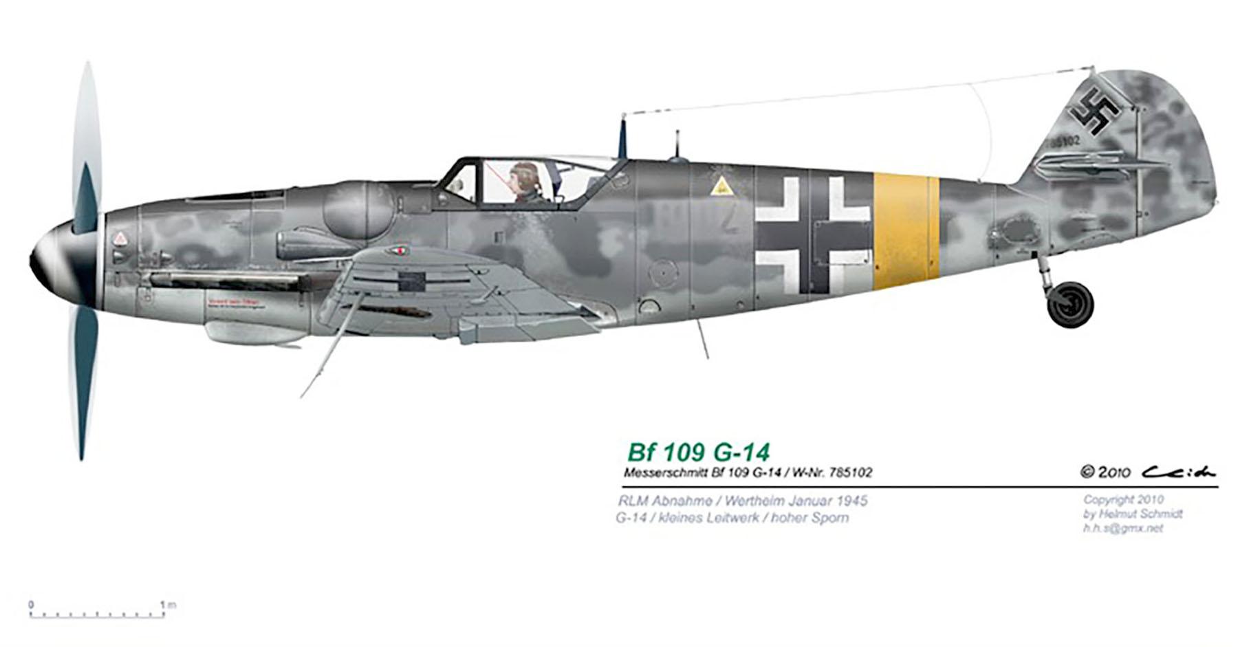 Messerschmitt Bf 109G14 Erla RVT WNr 785102 unknown unit Wertheim Germany Jan 1945 0A