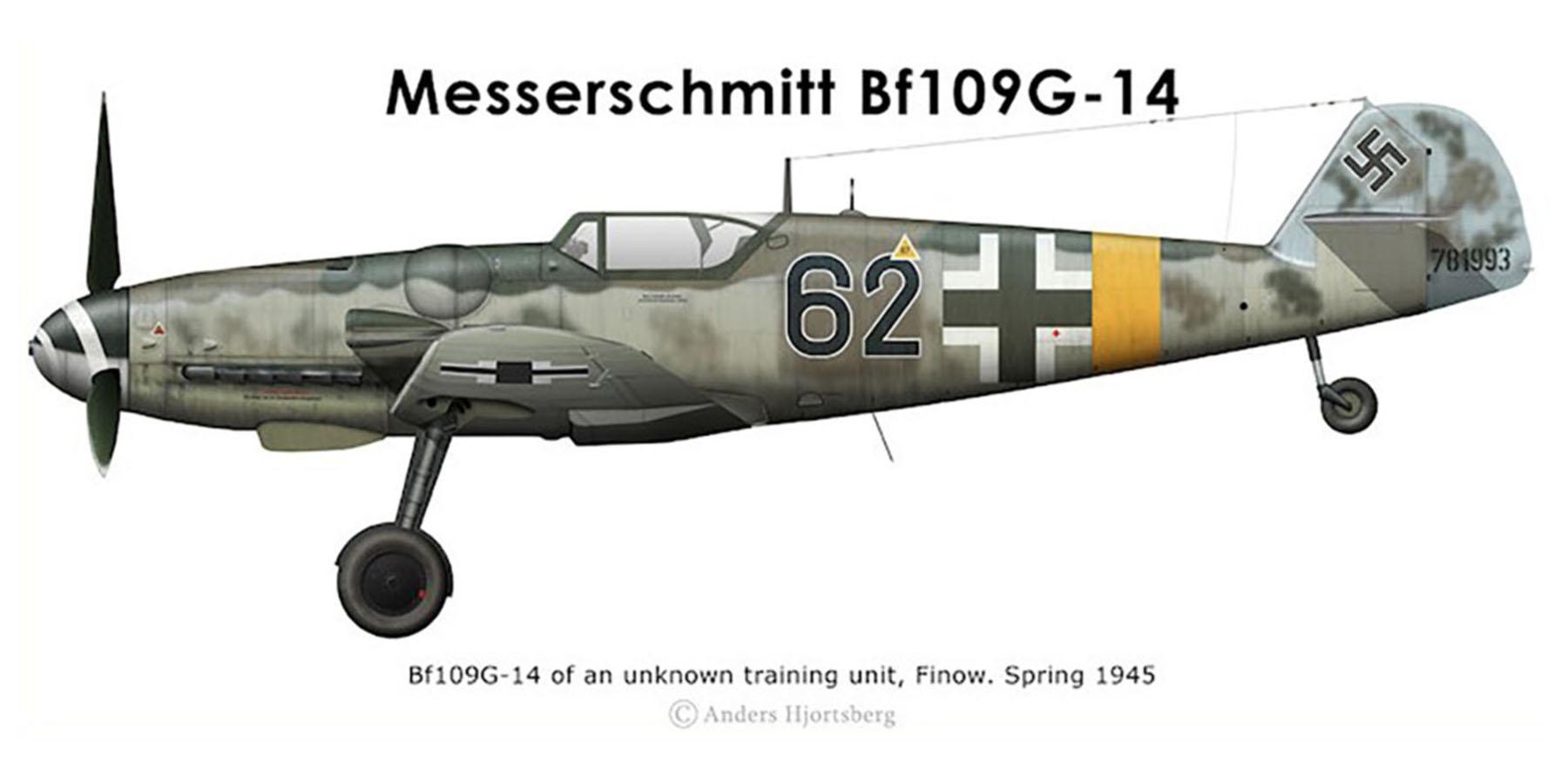 Messerschmitt Bf 109G14 Erla Reichsverteidigung Black 62 Stkz SA+RN WNr 781993 unknown unit Mar 1945 0A