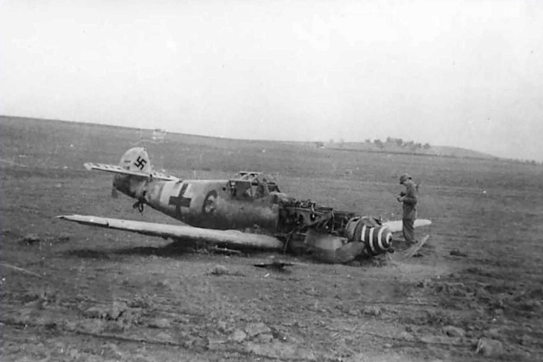 Messerschmitt Bf 109G6R6 Reichsverteidigung Black 6 force landed unknown unit and pilot 01