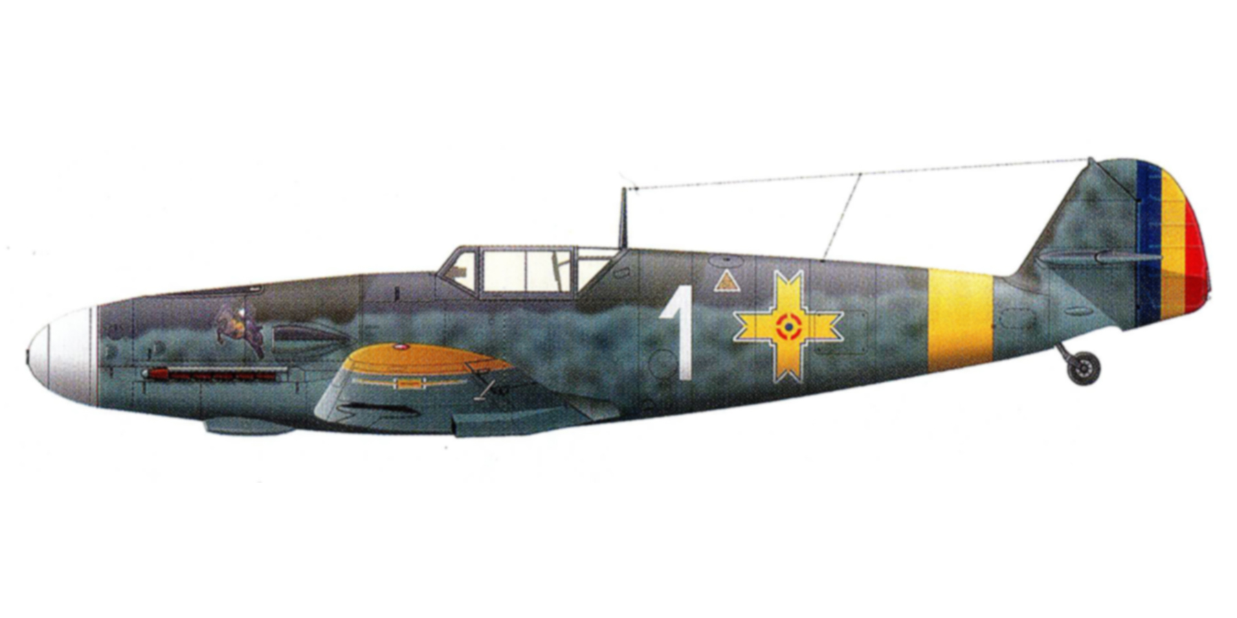 Messerschmitt Bf 109G2 RRAF 7FG White 1 Romania 1943 0B