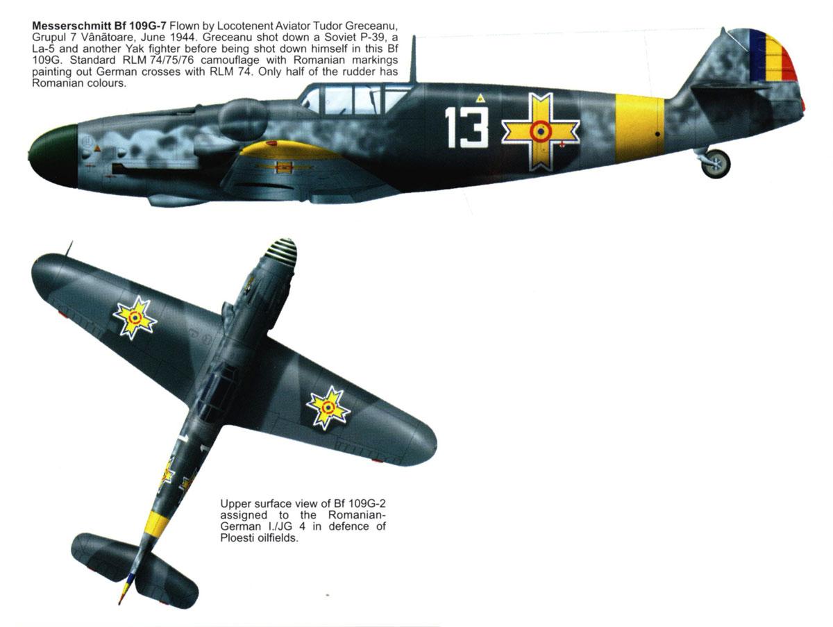 Messerschmitt Bf 109G7 RRAF 7FG White 13 Tudor Greceanu Romania 1943 0A