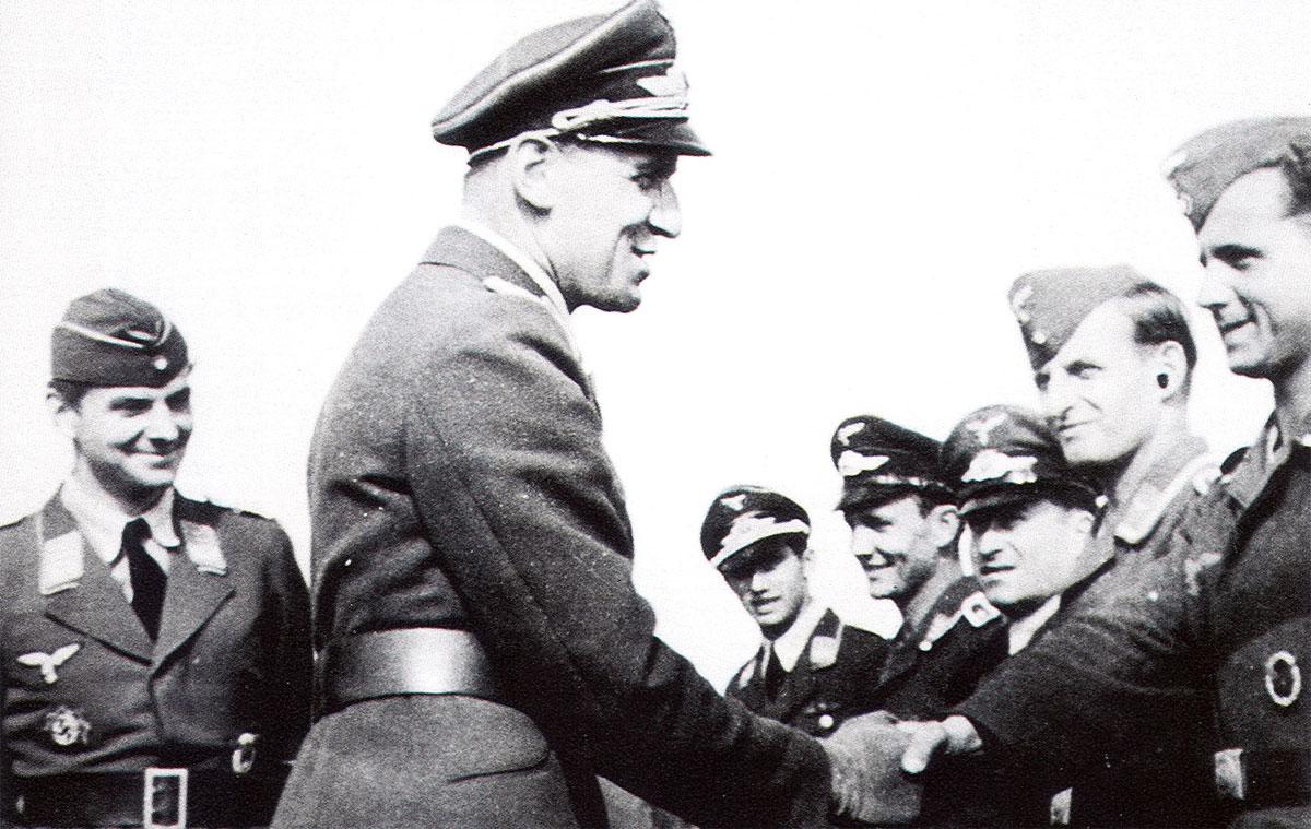 Aircrew Luftwaffe pilots I.NJG1 Wilhelm Johnen with Werner Streib June 1943 01