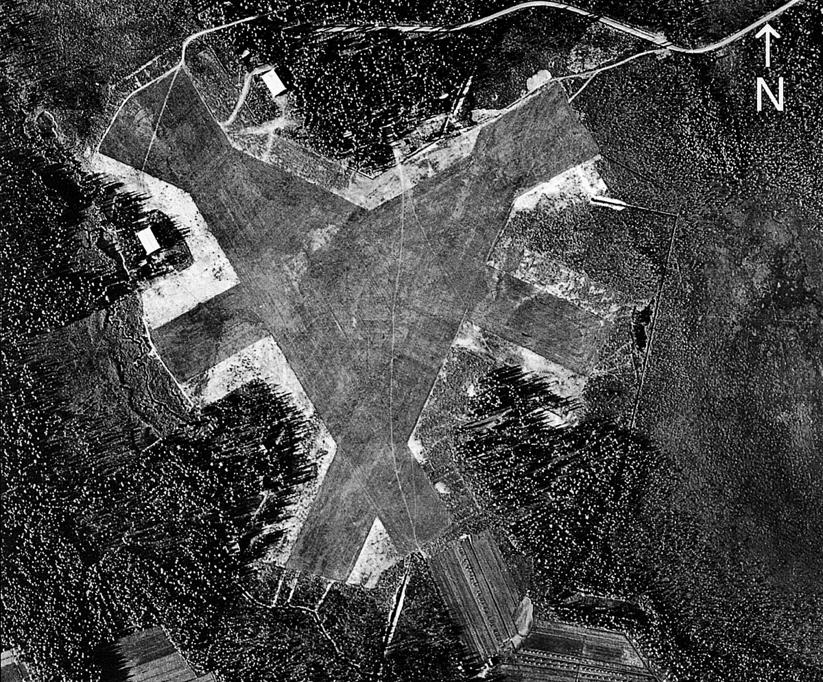 Aerial photo of the Finnish AF base at Naarajarvi SW Pieksamaki Finland June 1944 01