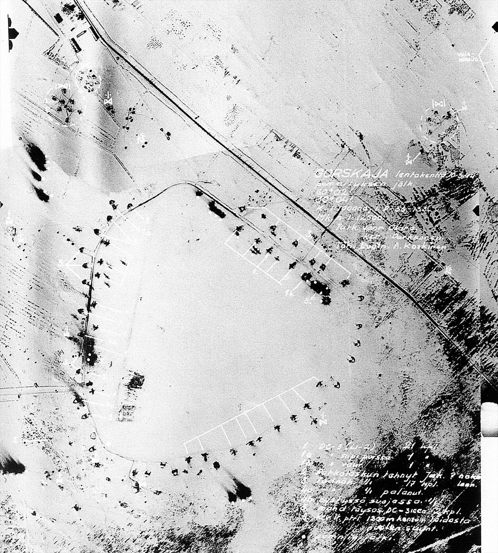 Aerial photo of the Soviet Airbase at Gorskaja nr Saint Petersburg 10th March 1944 01