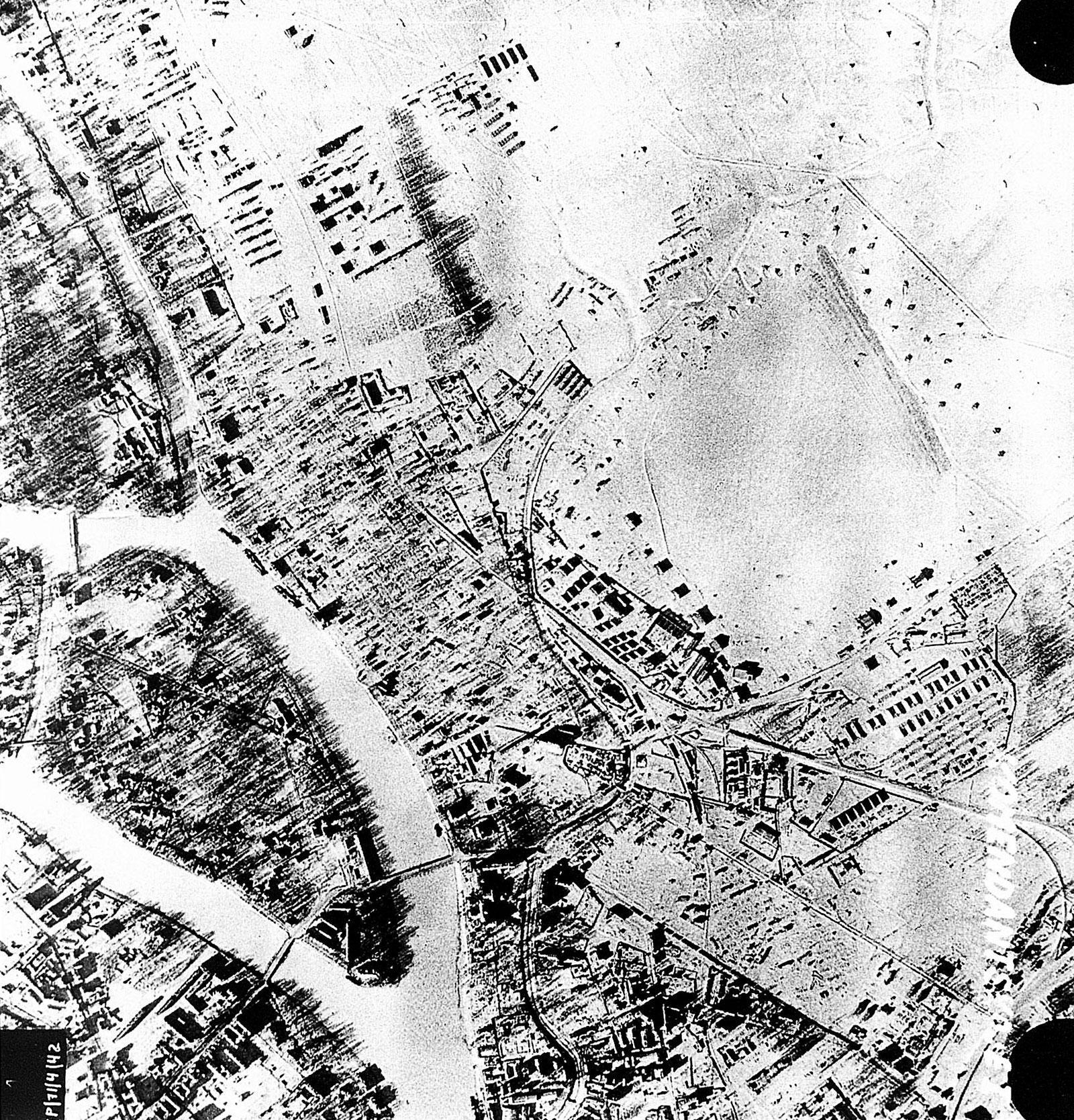 Aerial photo of the Soviet Airbase at Komendantskoje nr Saint Petersburg 9th Feb 1943 01