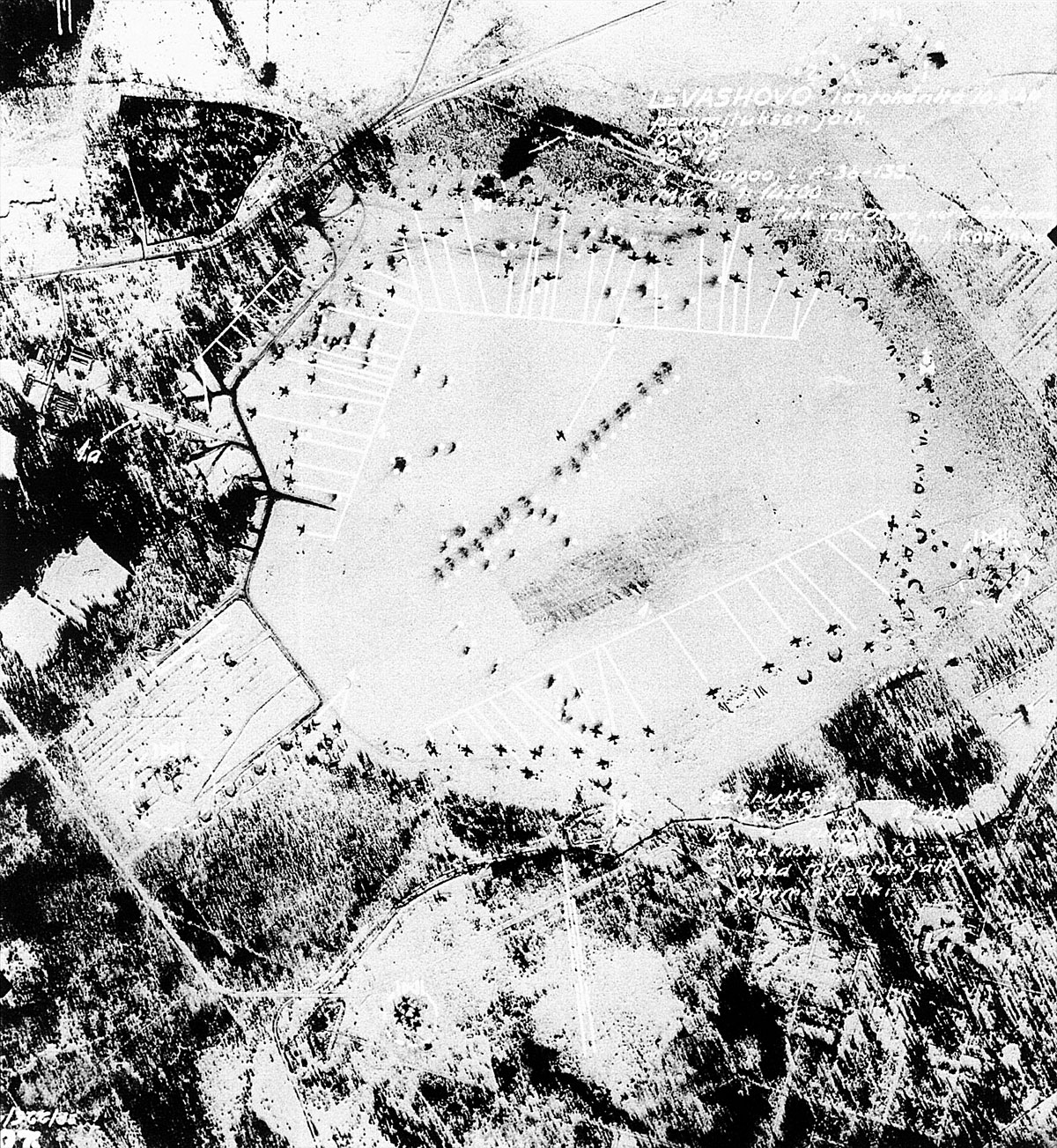 Aerial photo of the Soviet Airbase at Levashovo nr Saint Petersburg 11th March 1944 01