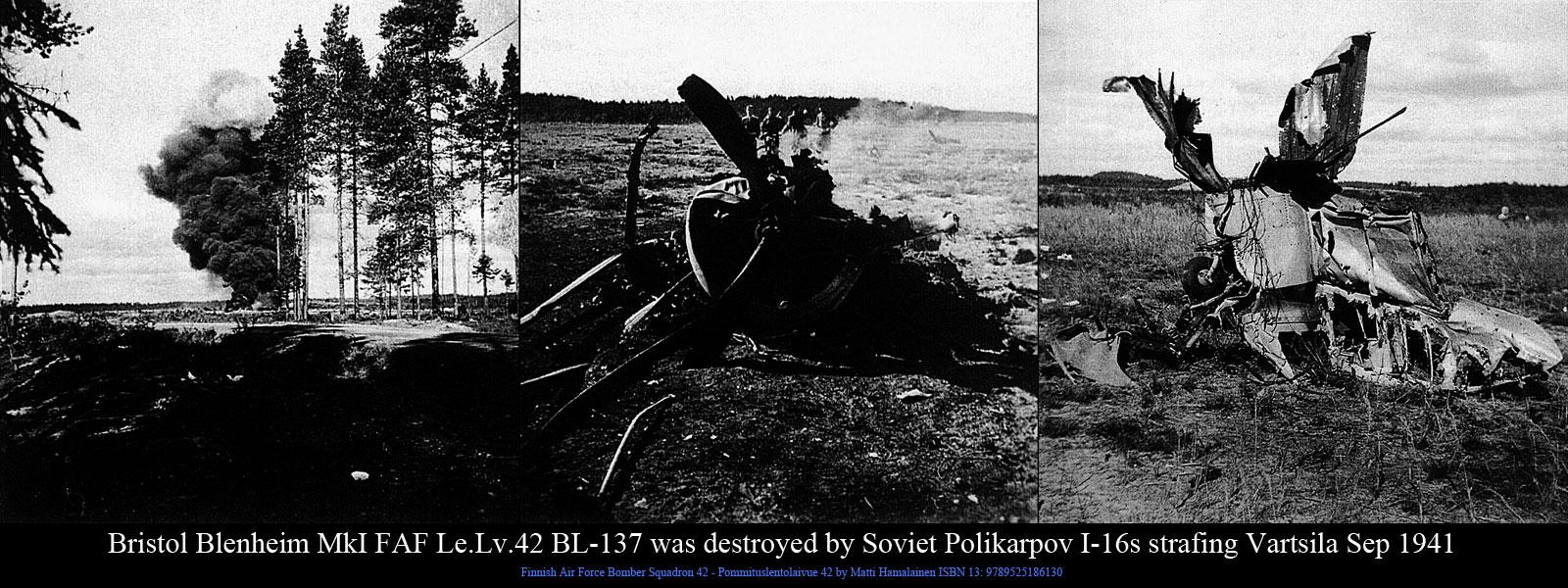 FAF LeLv42 BL137 was destroyed by Soviet Polikarpov I 16s strafing Vartsila Sep 1941 01