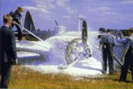 Asisbiz Firefighters are quick to put out an engine fire on this Bristol Blenheim from RAF 21Sqn YH Z7492 01