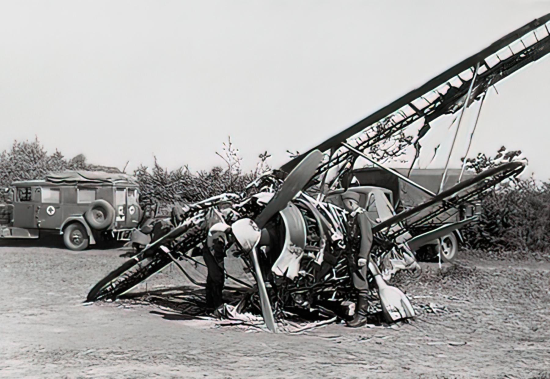 Fiat CR 42 Falco BAF IIFG3FS destroyed by strafing Belgium 1940 01