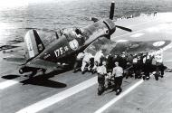 Asisbiz Vought F4U 7 Corsair French Navy Flottille 17F15 is being pushed onto the catapult 01