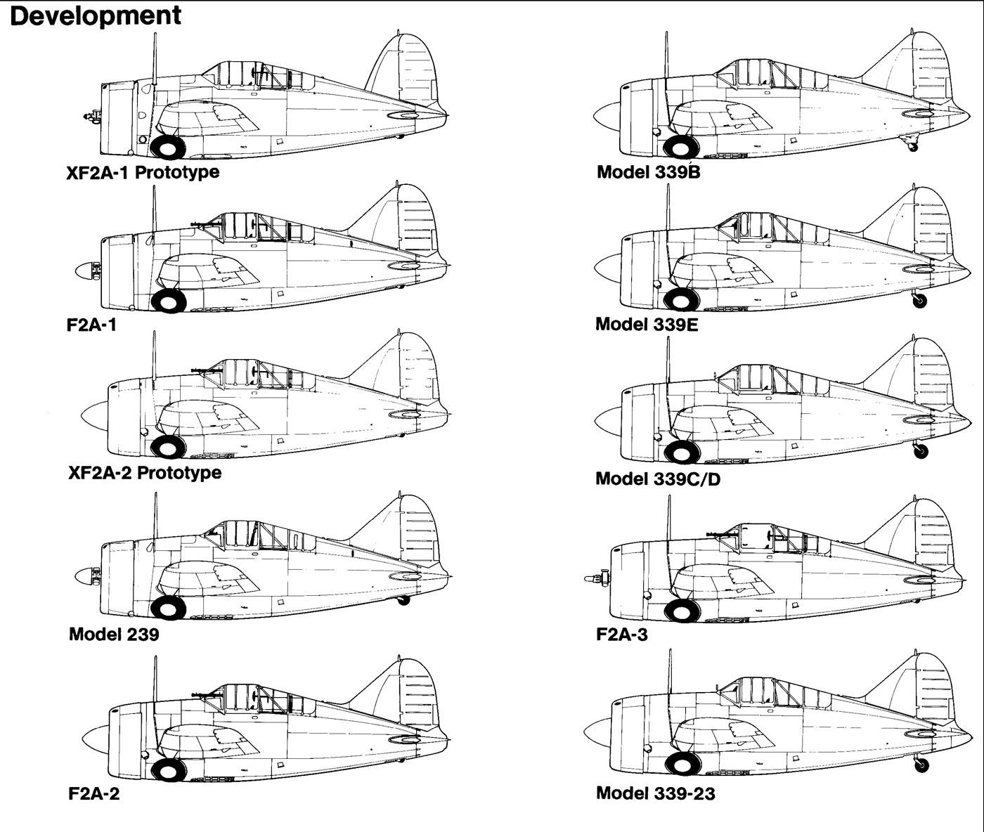 Artwork Brewster Buffalo F2A blue print showing development history 0A