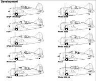 Asisbiz Artwork Brewster Buffalo F2A blue print showing development history 0A