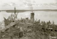 Asisbiz Finnish Navy Cargo ship very well camouflaged at Tuholma base on 31st Aug 1943 136251