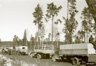Asisbiz Finnish army supply trucks held up by the winter thaw and muddy conditions Rukajarvi 10th Apr 1942 85692