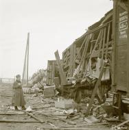Asisbiz Finnish rail supplies destroyed by a Soviet air raid on the Kemi railway yard 10th Oct 1941 165384