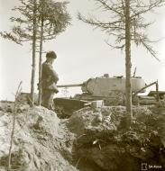Asisbiz Soviet KV1 tank knocked out by a mine near Syvari power plant 19th Apr 1942 83982