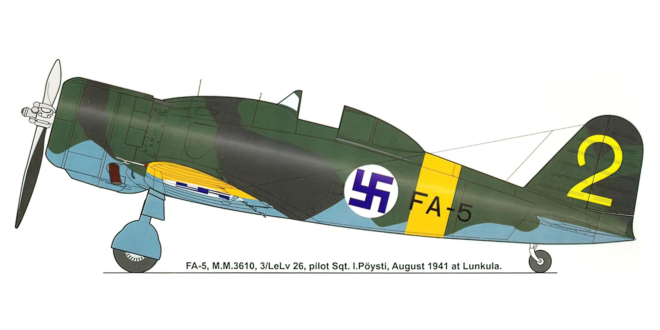 Fiat G50 Freccia FAF 3.LeLv26 FA5 MM3610 I. Poysti Finland Aug 1941 0A