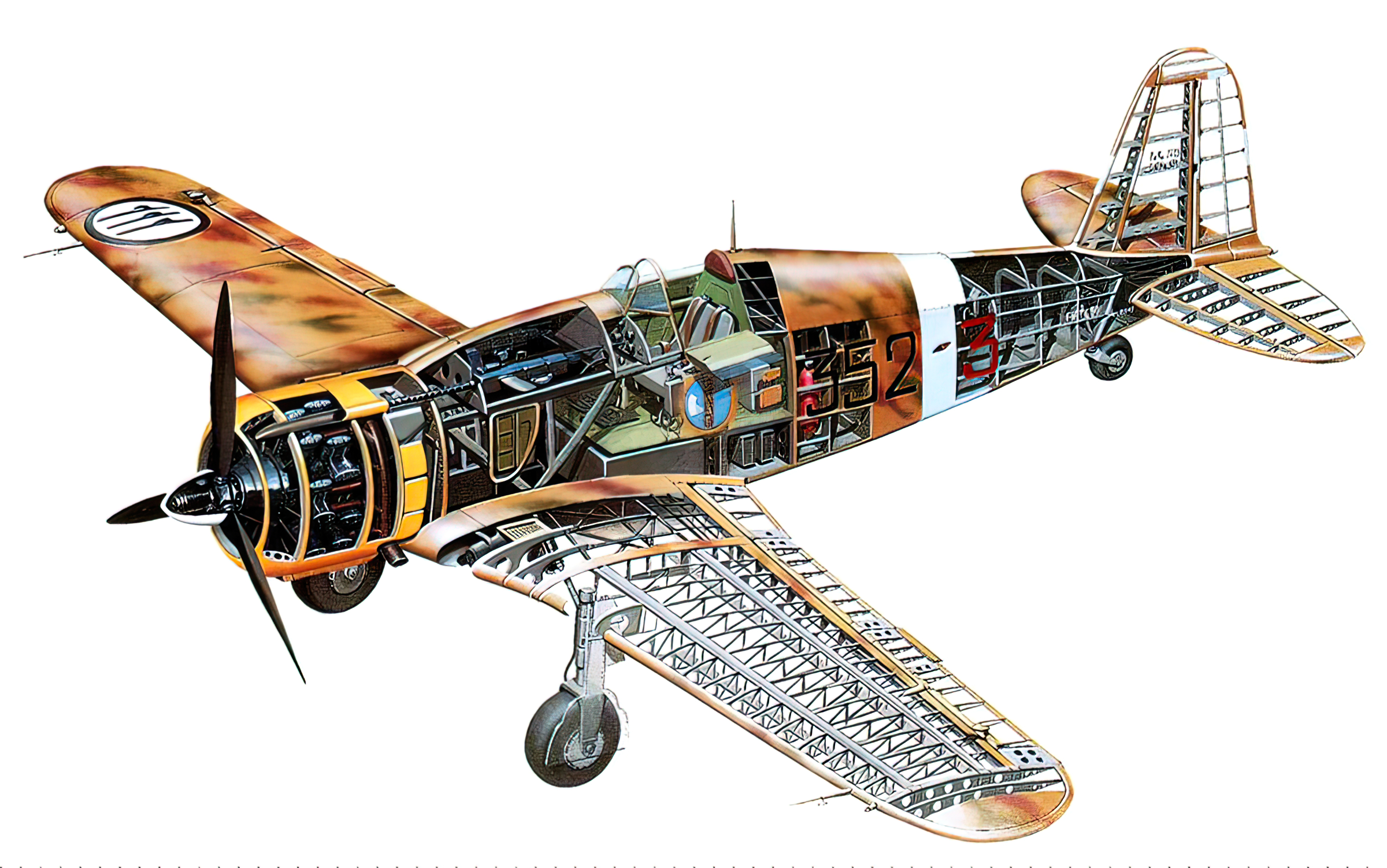 Artwork technical cutaway drawing of a Fiat G50 Freccia 0A