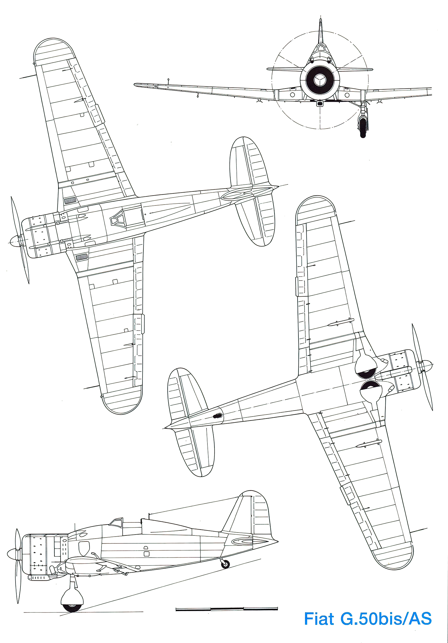 Artwork technical drawing of a Fiat G50bis.AS Freccia HPM 1993 11 P10