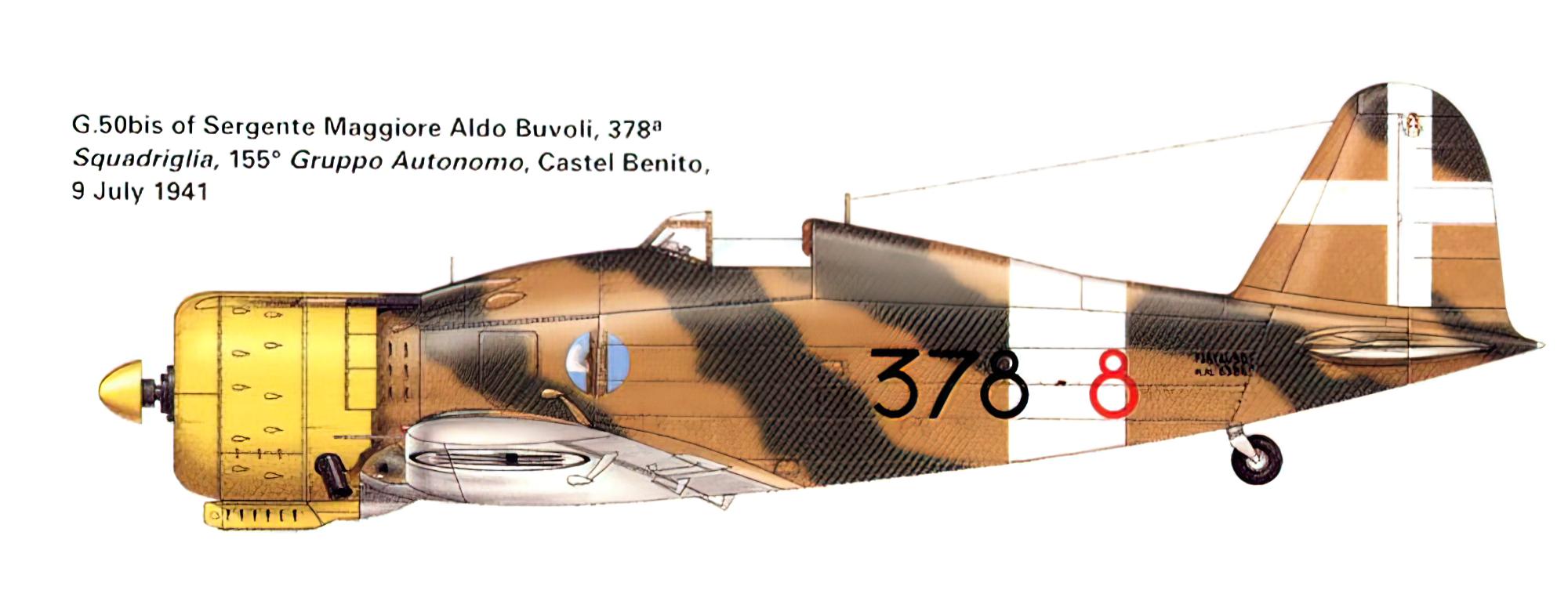 Fiat G50 Freccia 155 Gruppo Autonomo C.T. 378 Squadriglia 378 8 MM6384 Castle Benito 1941 0A