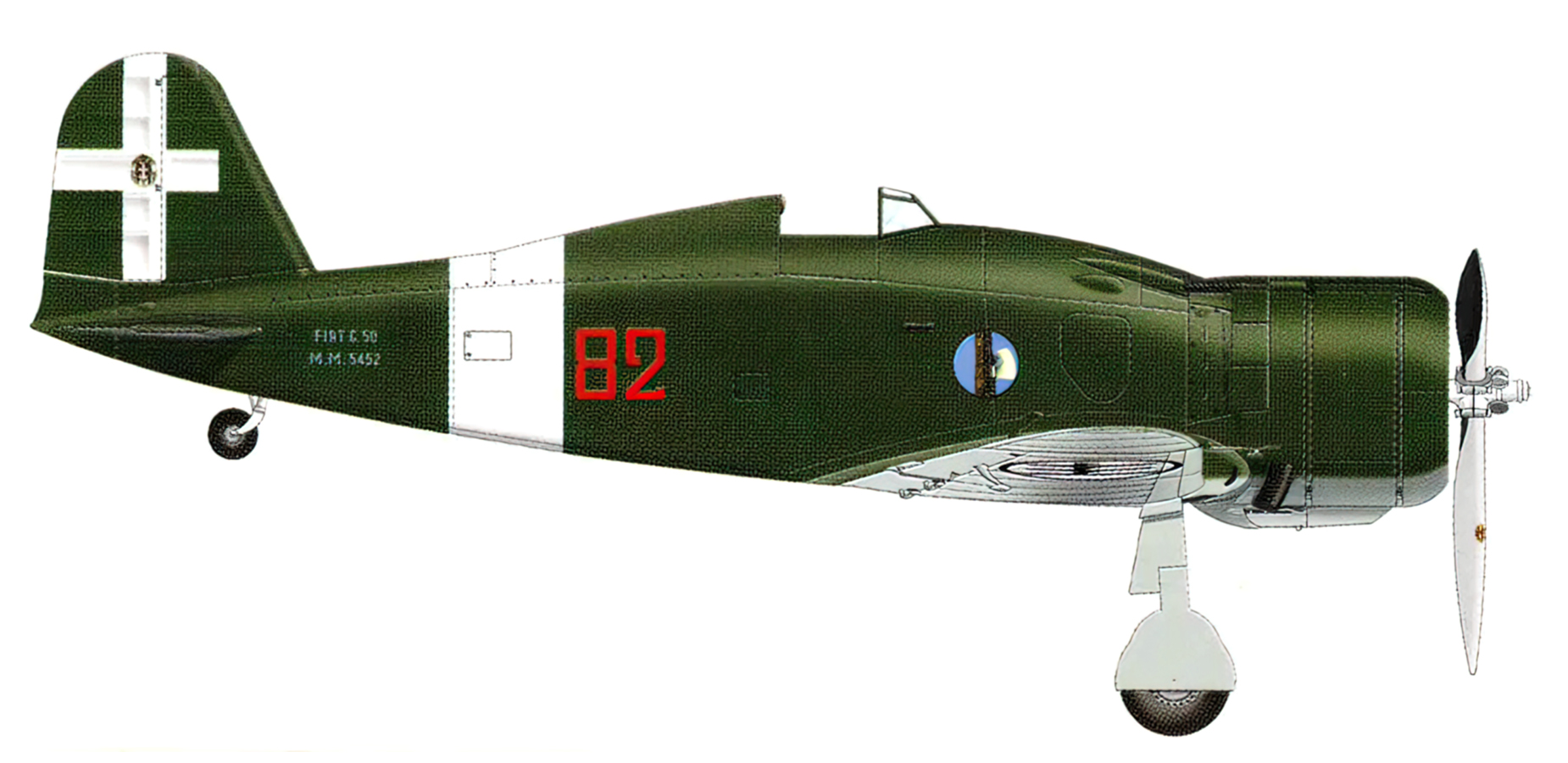 Fiat G50 Freccia prototype 82 MM5452 Gruppo Complementare Italy 1942 0A