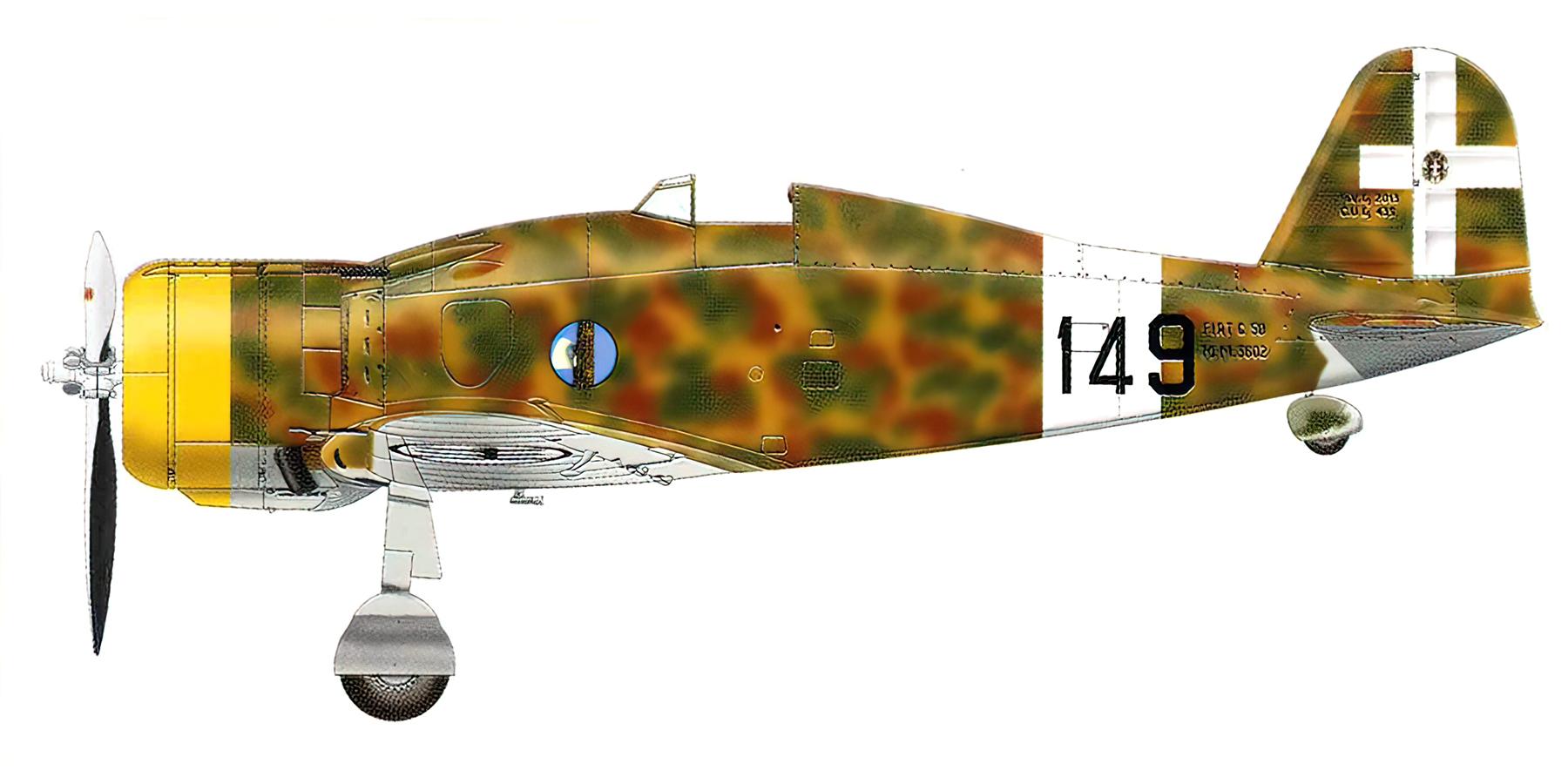 Fiat G50 Freccia prototype MM3602 149 training unit Italy 1941 0A