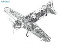Asisbiz Artwork technical cutaway drawing of a Fiat G50 Freccia 0B