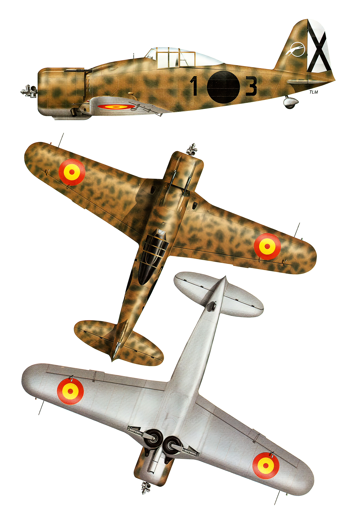 Fiat G50 Freccia Aviacion Nacional 27 Gruppo de Caza 3 Sevilla Tablada Spain Feb 1943 0A