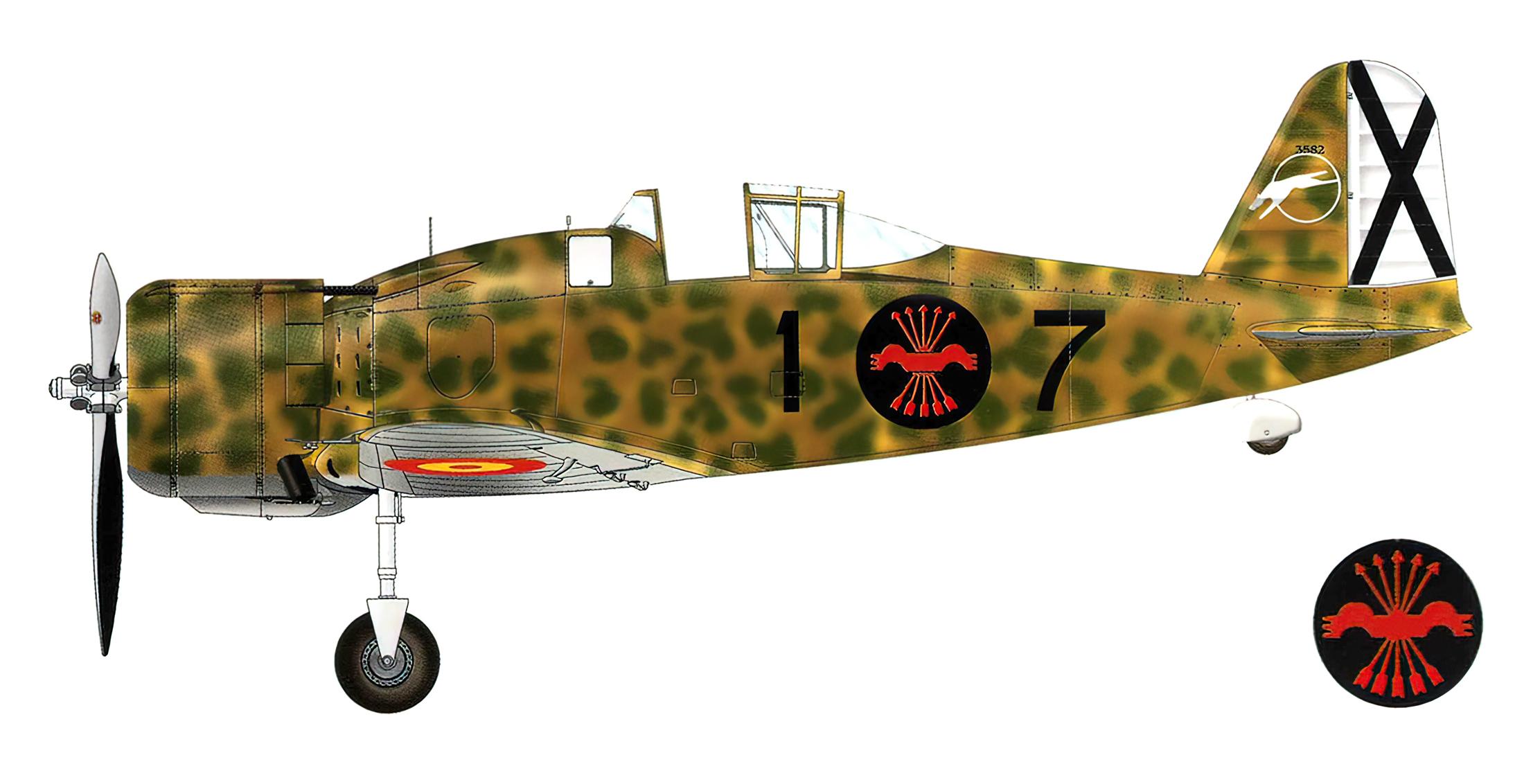 Fiat G50 Freccia Aviacion Nacional 27 Gruppo de Caza 7 MM3582 Sevilla Tablada Spain Feb 1943 0A