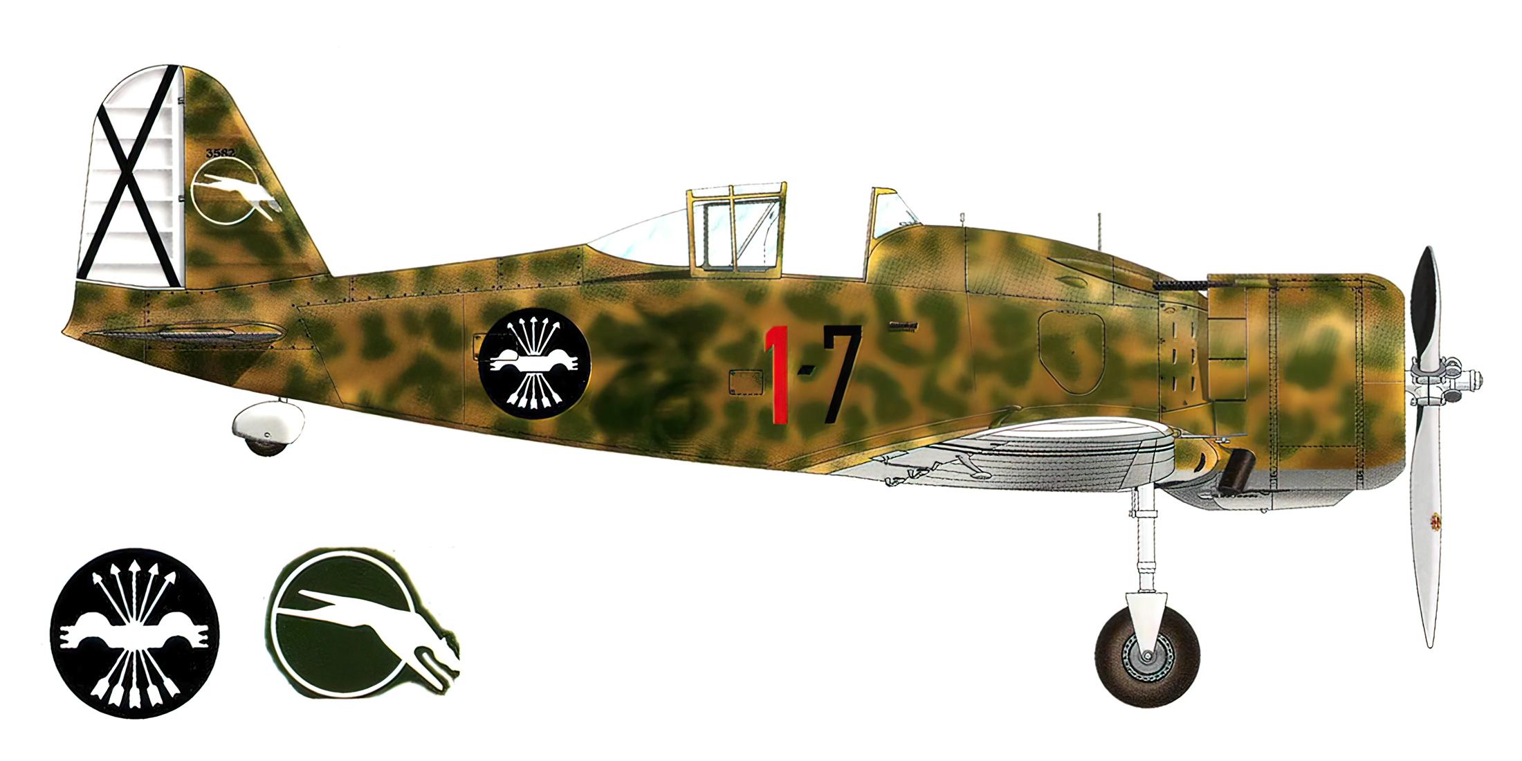 Fiat G50 Freccia Aviacion Nacional 27 Gruppo de Caza 7 MM3582 Sevilla Tablada Spain Jun 1939 0A