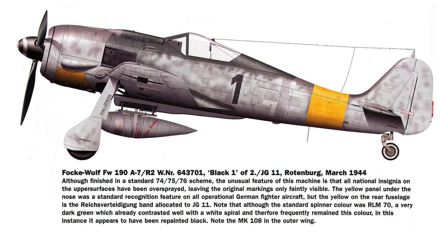 Focke Wulf Fw 190A7 2.JG11 Black 1 WNr 643701 Rotenburg Germany 1944 0A