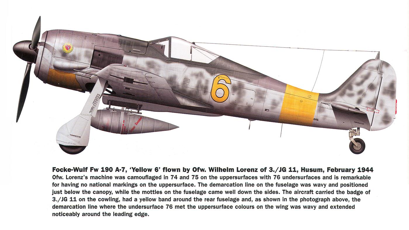Focke Wulf Fw 190A7 3.JG11 Yellow 6 Wilhelm Lorenz Husum 1944 0A